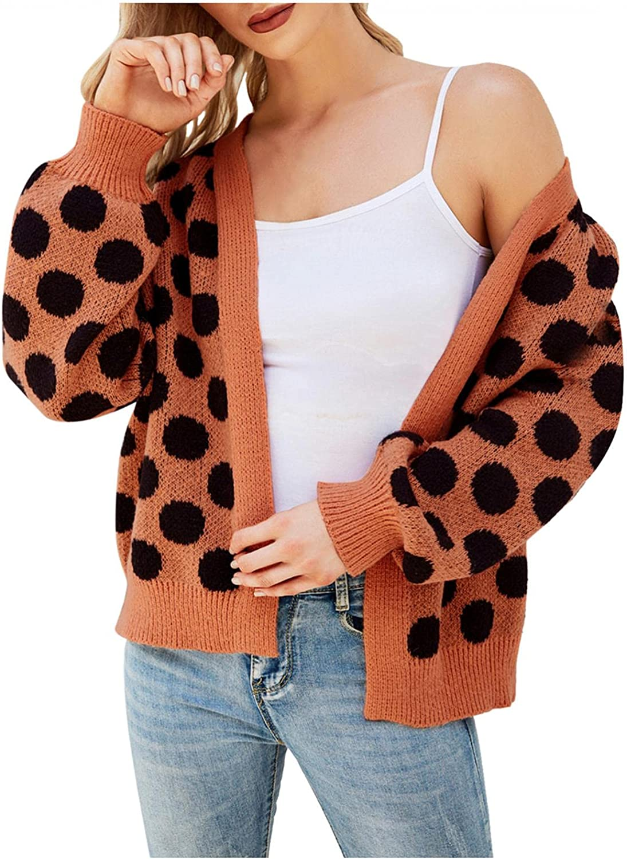 Women's Polka Dot Sweater Jacket Single-breasted Plus Size Knit Cardigan Short Coat Open Front Cropped Elegant Shrugs