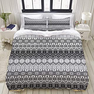 CANCAKA Duvet Cover Set, Knitting Theme Chevron Pixel Art Pattern Scandinavian Ornament Classic Motifs, Custom 3 Piece Bedding Set with 2 Pillow Shams, Queen/Full Size