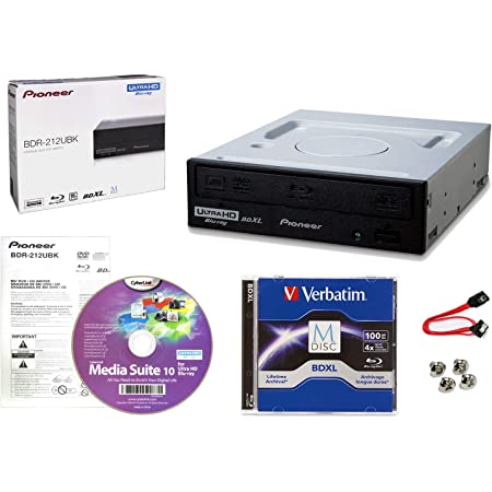 Pioneer BDR-212UBK Internal 16x Blu-ray Writer Drive Bundle with Cyberlink Burning Software, 100GB M-DISC BDXL, SATA Cable and Mounting Screws - Burns CD DVD BD DL BDXL Discs