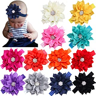 Best 12Pcs Baby Headbands Flower Hairbands 3.5Inch Hair Bows with Rhinestones Hair Accessories for Baby Girls Toddlers Infant Newborns Review