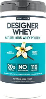Designer Whey Protein Powder, French Vanilla, 2 Pound, Non GMO