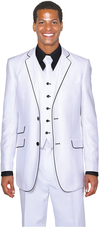 Milano Moda 2 Button Slim Fit Fashion Suit with White (Black) Hemming 5702V1