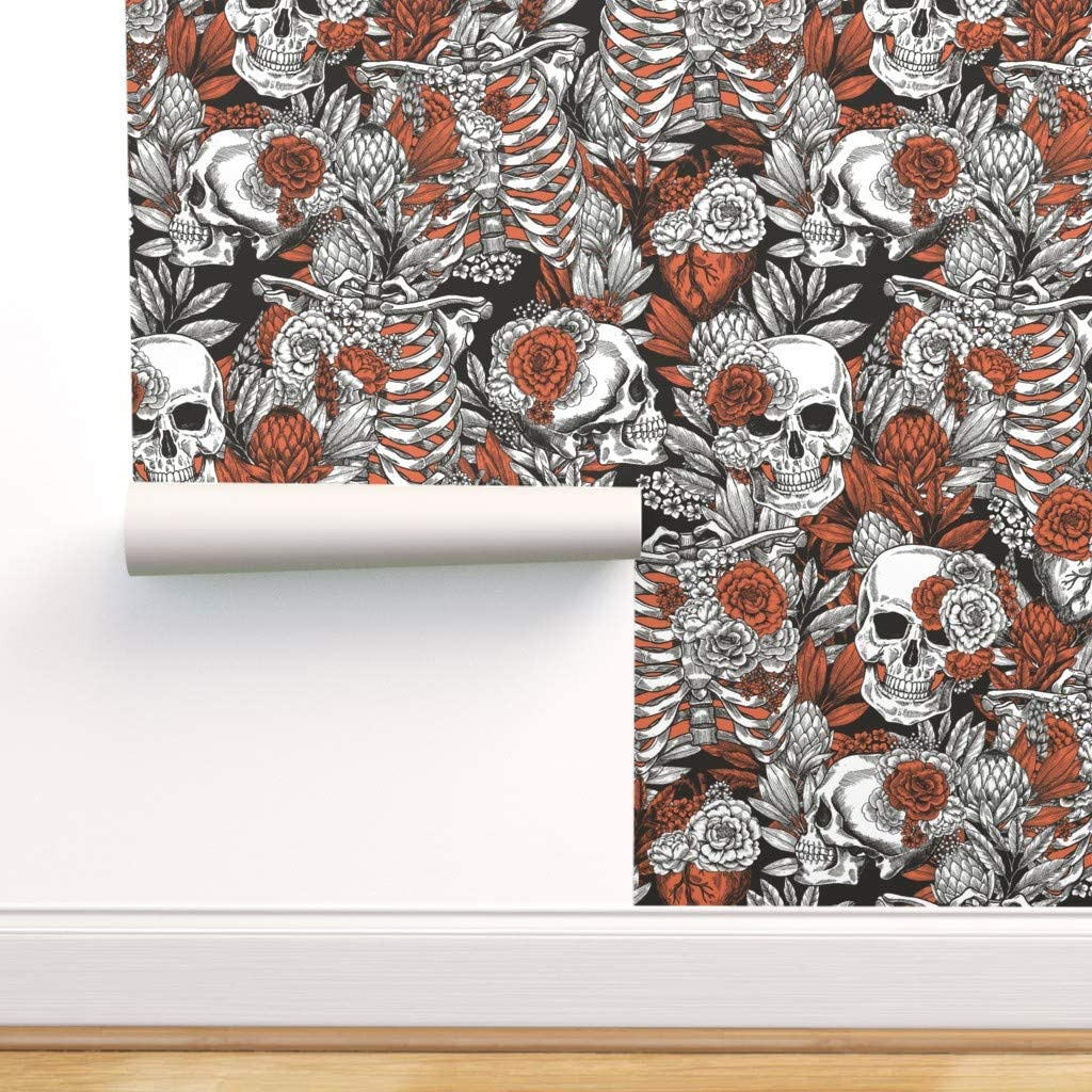 Spoonflower Arlington Memphis Mall Mall Pre-Pasted Removable Wallpaper Floral Spooky Hallow