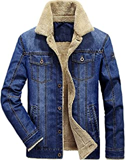 XinDao Mens Plus Size Plus Cotton Warm Fur Collar Sherpa Lined Denim Jacket