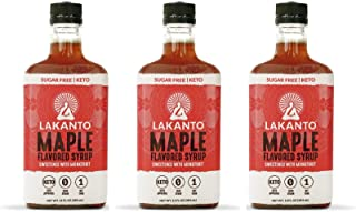 Lakanto Maple Flavored Sugar-Free Syrup, 1 Net Carb (Maple Syrup, 3 Pack, 13 Oz)