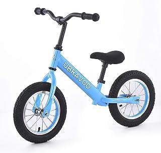 UBRAVOO バランスバイク キッズバイク 子供 幼児用 ペダル無し自転車 ゴムタイヤ ハンドル サドル高さ調整可 柔らかいシート 1歳半~5歳 軽量 組み立て簡単 乗用玩具 誕生日 お正月 クリスマス プレゼント ブルー