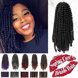 [4Packs] Spring Curl Hair Fluffy Twist Crochet Hair Ombre Wavy Braids Hair Extension 30Strands 8inch Bomb Twist Braiding Crochet Hair Low Temperature Fiber Jamaican Bounce Hair (8