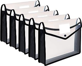 5PCS Pochette Plastique A4 à Bouton Pression Polypropylène Porte-document Enveloppe Transparente Chemise pour Fournitures ...