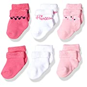 Gerber Baby Girls' 6-Pair Sock, pink princess, 0-3 Months