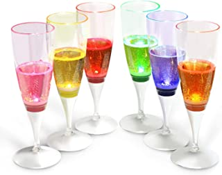 INNOKA LED Champagne Flute, (Set of 6 Multi-Color) Liquid Activated Light Up LED Food-Grade BPA-Free Plastic Glass Like Wine Champagne Flute 5oz for Wedding Party Toasting Christmas Special Occasions