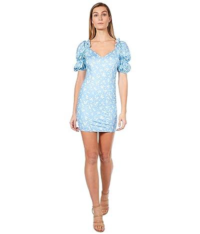 Bebe Printed Puff Sleeve Plunge Neck Dress