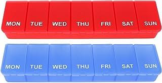 COM-FOUR® 2X Medicijndosering in ENGELS - Medicijnverpakking voor 7 dagen - Pillendoos - Tabletdoos - Wekelijkse dosering ...