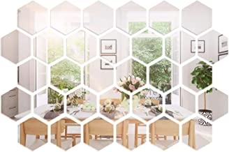 36 Pieces Removable Acrylic Hexagon Mirror Wall Sticker Decal for Home Living Room Bedroom Decor Silver (10 x 8.5 x 5 cm)