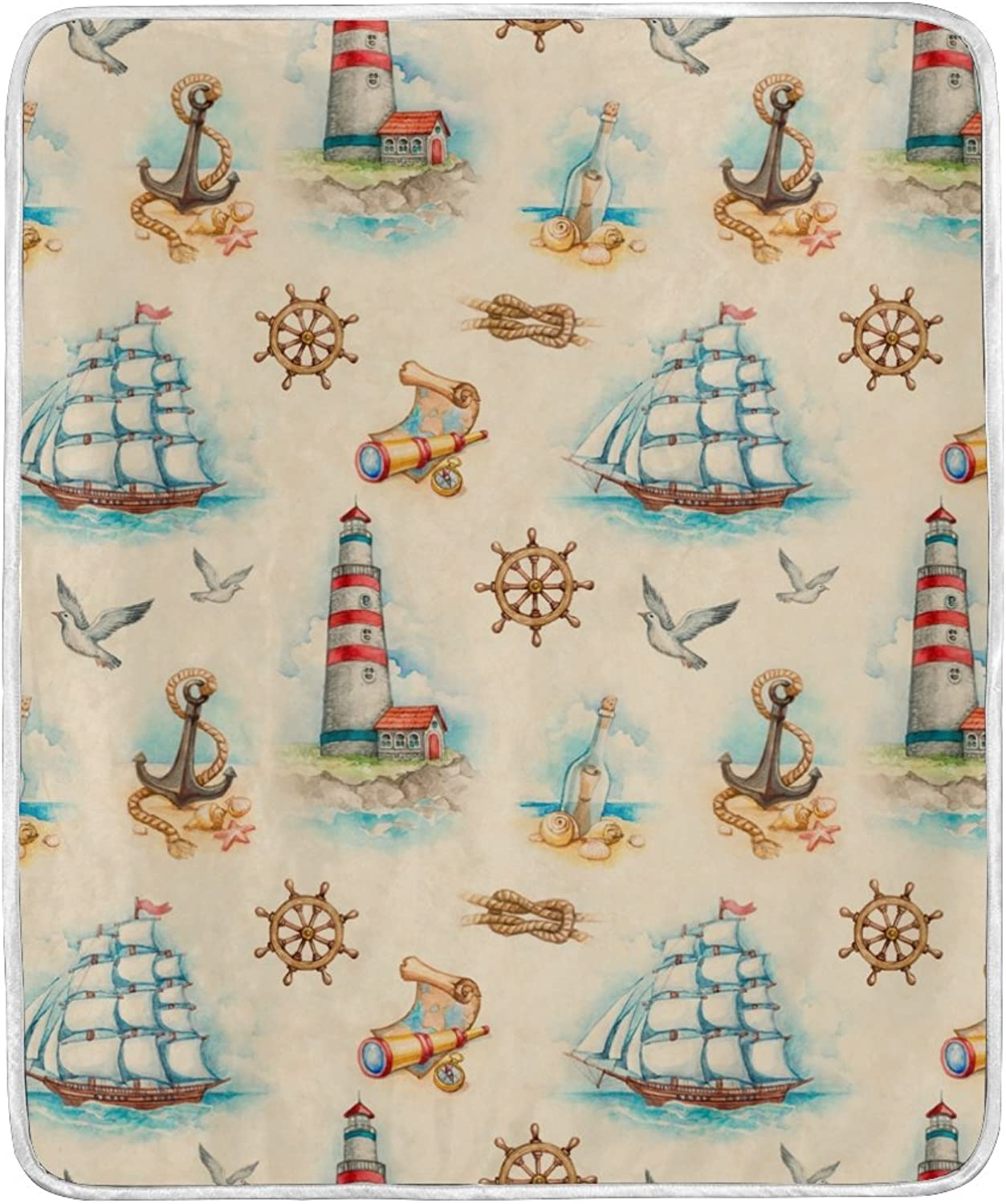 ALIREA Nautical Watercolor Pattern Super Soft Warm Blanket Lightweight Throw Blankets for Bed Couch Sofa Travelling Camping 60 x 50 Inch for Kids Boys Girls