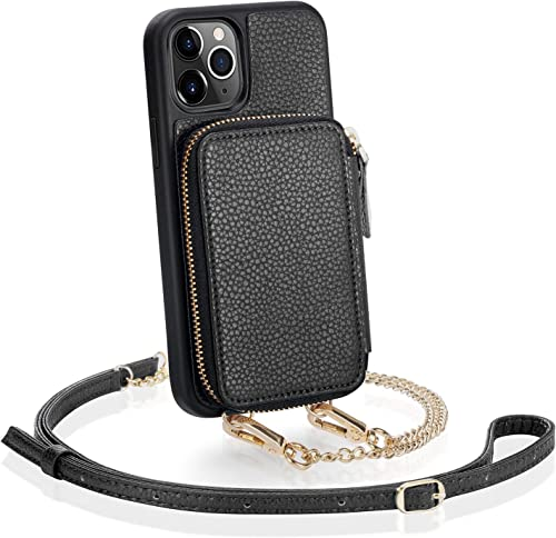 ZVE iPhone 11 Pro Max Wallet Case, iPhone 11 Pro Max Case with Credit Card Holder Slot Crossbody Chain Handbag Purse ...