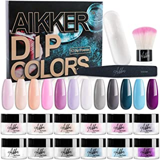 Aikker Acrylic Dip Powder Nail Kit 12 Color Dipping System with Recycling Tray Brush File Summer Set AK15