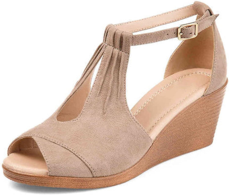 Women Platform Wedge Sandal Buckle Strap Peep Toe Suede Upper Elegant Heeled Bridesmaid Dress Shoes