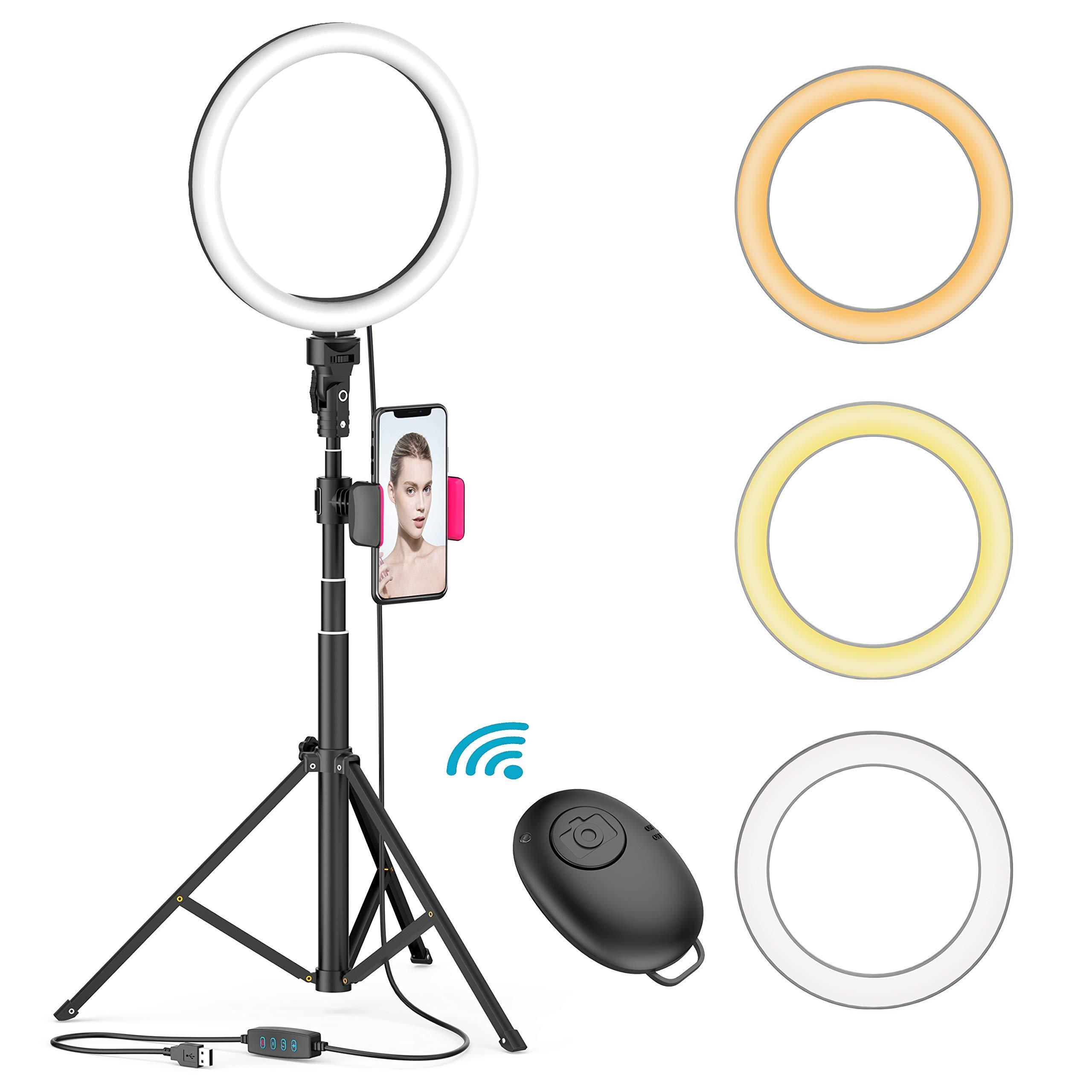 8 LED Selfie Ring Light for Live Stream/Makeup/YouTube Video, Dimmable Beauty Ringlight with Tripod Stand and Phone Holder Compatible with iPhone/Android