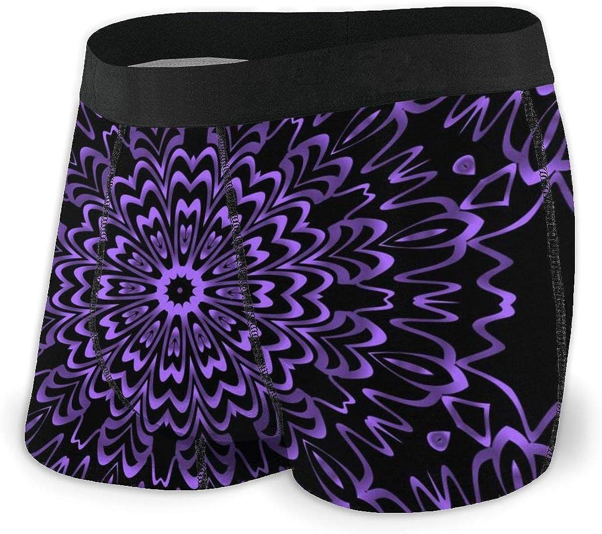 Randolph Wordsworth Mens Boxer Briefs Geometric Flower Purple Black Breathable Underwear