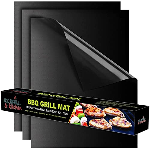 Grill mat Set of 3 - Non Stick BBQ Grill Sheets Reusable - Grill Pads Nonstick - Baking Grilling Mats Compatible with Charcoal Gas Weber Charbroil Traeger Grills - Outdoor Barbecue Accessories Black