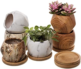 T4U 8CM 六角形 丸鉢 陶器鉢 多肉植物 サボテン鉢 プランター容器 竹製受け皿付き 6点セット