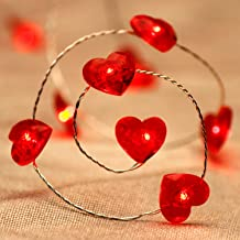 Expressing Love String Lights, 10 ft 40 LEDs Patriotism Red Heart Fairy Lights Battery-Powered with Remote for July 4th, Independen, Valentine, Anniversary, Dinner, Date, House, Party Decorating