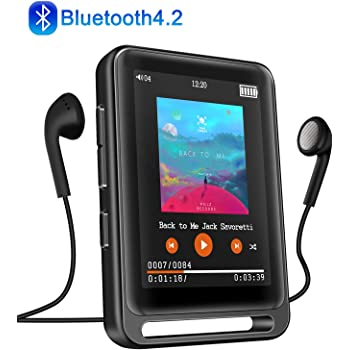 """MP3 Player, Searick 16G MP3 Player with Bluetooth 4.2, 2.4"""" LCD Portable HiFi Lossless Sound Music MP3 Players with FM Radio/Voice Recorder, Support up to 128GB (Headphone, Armband, Lanyard Included)"""