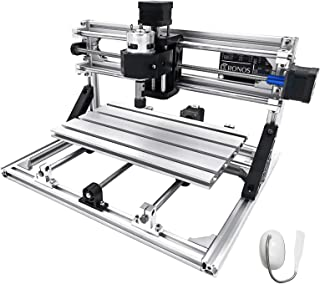 Mophorn CNC Machine 3018 Grbl Control CNC Router Kit 3 Axis PCB Wood Carving Milling Machine 300X180X45mm with Er11 + 5mm Extension Rod + Lamp