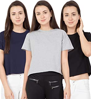American-Elm Set of 3 Solid Cotton Stylish Crop Top for Women (Black, Navy Blue, Light Grey)