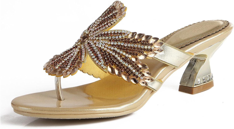 Women's shoes PU Summer Comfort Sandals Slippers & Flip-Flops Chunky Heel Crystal Heel Block Heel Pointed Toe Crystal for Dress