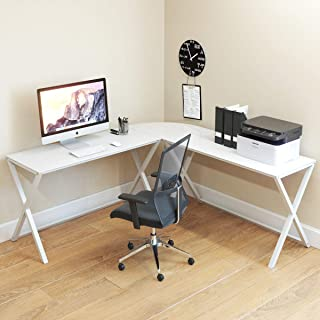 Ryan Rove Keeling X Glass Large Modern L-Shaped Desk Corner Computer Office Desk for Small PC Laptop Study Table Workstation Home Office with Keyboard Shelf - White Frame, White Glass