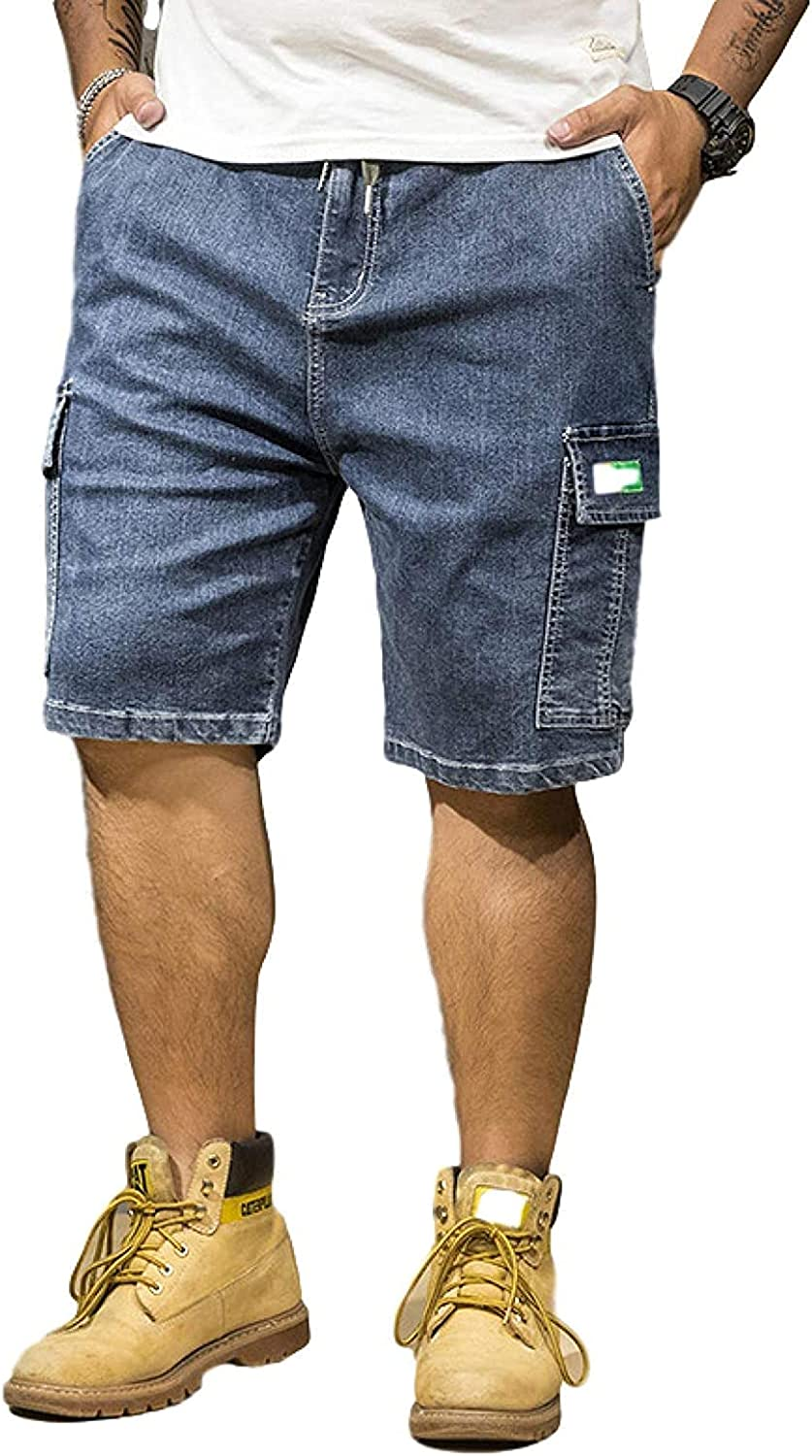 ZYUEER Men's Relaxed Fit Denim Shorts with Drawstring Multi-Pocket Distressed