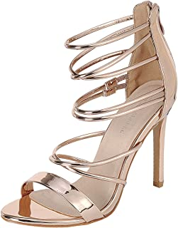 7d9038b06b3 Forever Link Womens Open Toe Metallic Elastic Strappy Cage Stiletto High Heel  Pump Sandals