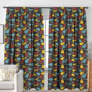 NUOMANAN Blackout Curtains for Bedroom Guitar,Antique Wooden Acoustic Guitars Illustration Folk Country Music Flamenco Retro Style, Multicolor,Darkening and Thermal Insulating Draperies 54