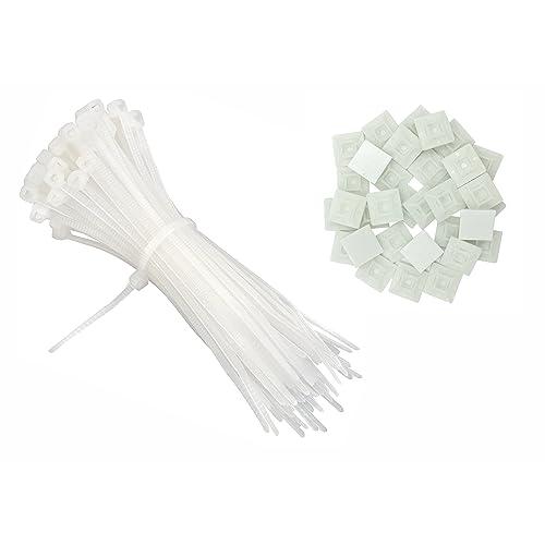 intervisio Collier de Serrage 200 mm x 2,5 mm Serre Cables, Rilsan 200mm, Nylon, Lot de 100 Pièces + Embases Adhesive pour Attache de Cable, 19 mm, Auto Adhésif 50 Pièces Blanc