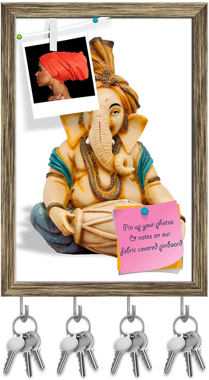 Artzfolio Lord Ganesh D6 Key Holder Hooks   Notice Pin Board   Antique golden Frame 12 X 17.4Inch