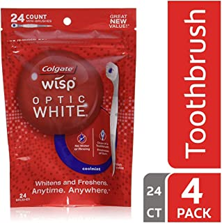 🏆 Premium Pack Optic White Wisp Disposable Mini Toothbrush, Cool Mint - 24 Count (4 Pack)