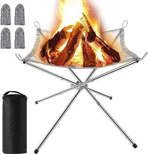 MojiDecor Brasero Portable pour Extérieur, Grille Barbecue/Chauffage Pliable, Foyer de Camping, avec Sac de Transport...