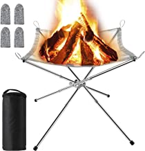 Barbecue Camping Backyard and Garden MojiDecor Portable Fire Pit Outdoor Collapsible Campfire Stand BBQ 304 Stainless Steel Grill Foldable Camping Grill with Carrying Bag for Patio
