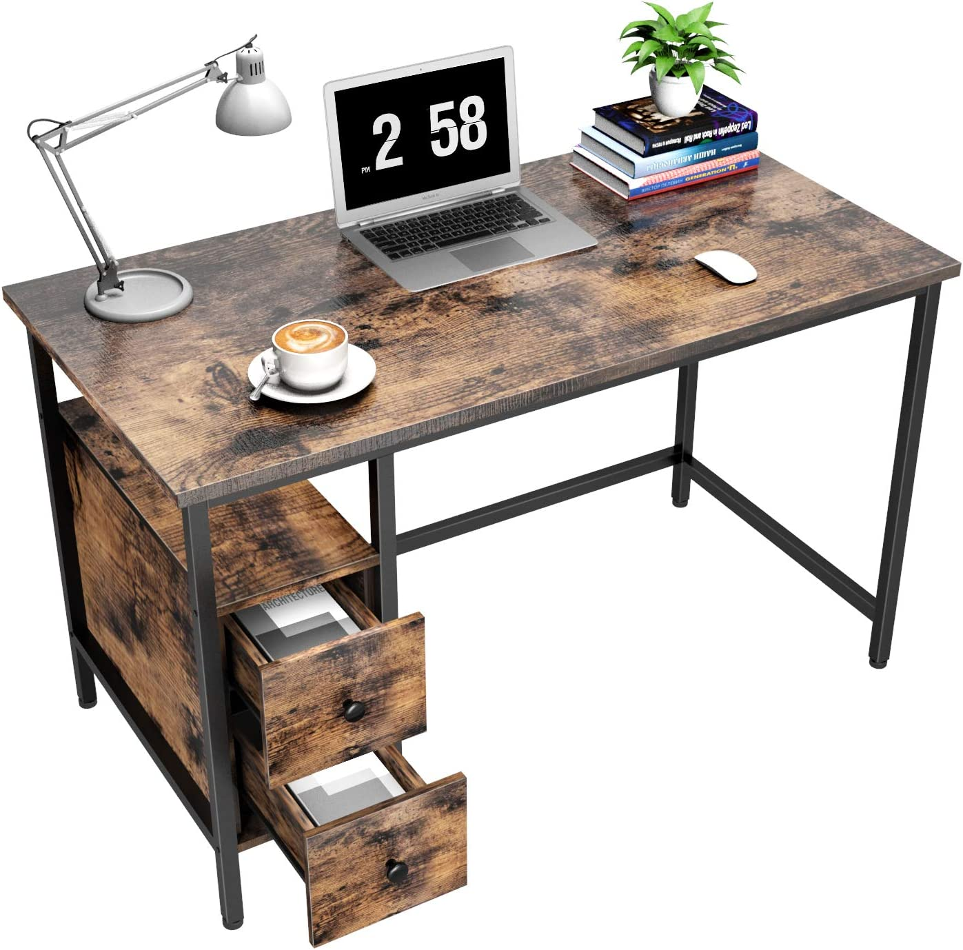GIKPAL Computer Desk for Home Office, Study Writing Desk with 2 Drawers, Desk with Storage for Bedroom 47 inch, Black/Retro (Retro)
