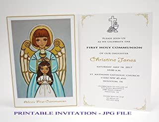 Girl first communion invitation girl Guardian angel Girl first holy communion invitation girl Religious invitation girl First communion invites Spanish invitation First communion invitation printable