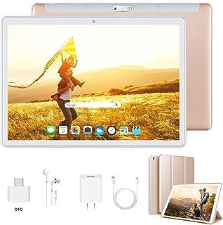 Tablet 10 Pulgadas Android 9.0 Ultrar-Rápido Tablets 4G Dual SIM / WiFi 3GB RAM 32GB/128GB ROM 8500mAh Batería Quad Core (GPS Bluetooth OTG NetfilixType-C)-Certificado por Google GMS Dorado