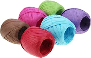 LJY 6 Rolls 6 Colors Raffia Twine Paper Ribbon for Valentine's Day Gift Box Packing