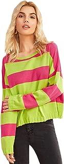 Milumia Women's Casual Stripe Colorblock Knit Pullover Jumper Sweater Top