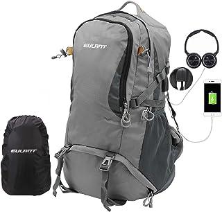 Mochilas de Trekking 40L, Mochila de Viaje Impermeable con Cubierta para la Lluvia & Puerto de Carga USB & Puerto de Auriculares