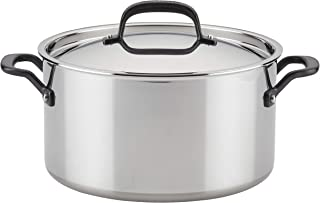 KitchenAid 5-Ply Clad Polished Stainless Steel Stock Pot/Stockpot with Lid, 8 Quart