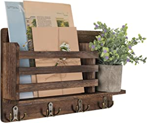 LIBWYS Wall Mounted Mail Holder with 4 Double Key Hooks Wooden Mail Sorter Rustic Home Decor for Entryway Mudroom Hallway Kitchen Office (Brown)