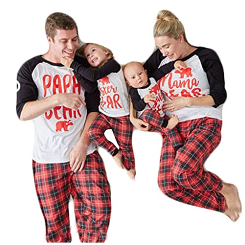 06e047275dff Papa Mama Kids Baby Bear Plaid Family Matching Christmas Pajamas Sleepwear  Nightwear Homewear Sets for The