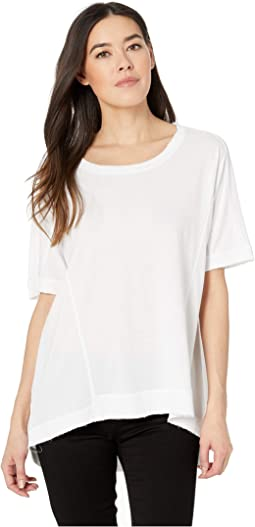 Luxe Cotton Modal Jersey Short Sleeve Rib Trim Crew Tee