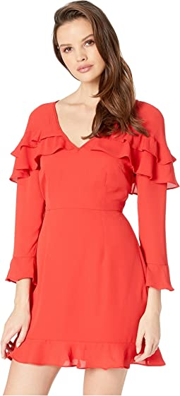 Love The Nightlife Crepe de Chine Ruffle Dress
